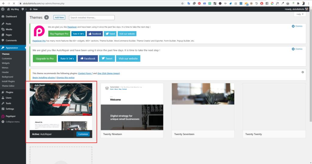 Website's Theme in WordPress